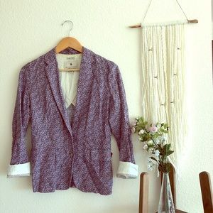 Boutique Floral Blazer with Accent Sleeves
